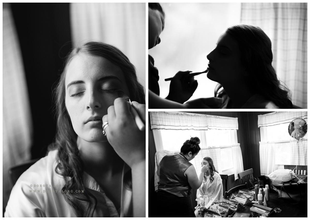 Black and white colliage of images while the bride is getting ready to Villa Bianca wedding